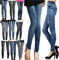 2014 Fashion Women Thin Ladies Wild Snow Faux Jeans Leggings Stretchy Girl Skinny Jeggings