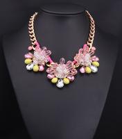 Fashion Necklaces Pendant ,Party Chokers Necklace ,Artificial Gem Big Colorful Crystal Pendants Necklace For Women
