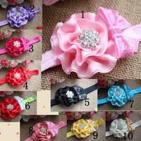15PCS Chiffon fabric flowers Solid Flod Flower  witha bow Baby Hairbands Girls Headband,Infant Knitting Hair Weave,