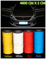 2014 New 46M x 2cm Car DIY Modify Trim Strip Reflective Sticker Tape Car decoration stickers warning white red bule yellow