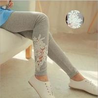 High Quality Spring Women's Elastic Slim Leggings Lady Casual Applique Side Lace Thin Capris Leggins