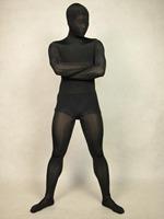black transparent spun silk  Lycra Spandex  Zentai sexy Suit full body  tights Costumes-Super smooth sexy