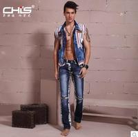 2014 china initial designer brand men jeans fashion  good quality denim jeans men  skinny slim straight patch beggar jeans