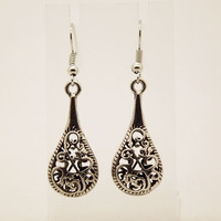 EQ008 Unique Tibetan Silver Plant  Hollow Water Drop Dangle Fashion Vintage Earrings For Women Girls Wholesale Jewelry