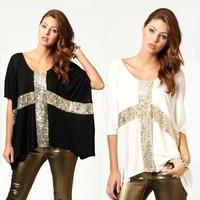 New Fashion Women Oversized T-shirt Sequin Cross Batwing Sleeve Loose Tops