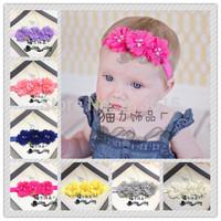 1PCS Free ShippingNewborn Baby Toddler Girl Chiffon Flower Headband with Pearls Holiday Baptism Christening Photo Prop SD11