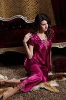 pyjamas women 2014 new summer short-sleeved silk pajamas sets lace two-piece sexy V -neck pink silk sleepwear women pajamas