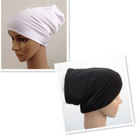 Muslim hijab white and black  base underscarf headscarf cap cover for islamic women A1409