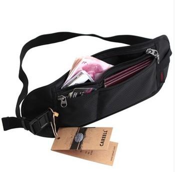 High Quality Slim Zipped Hidden Waterproof Security Travel Waist Belt Money Passport Bag Free Shipping