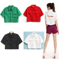 Free shipping sexy backless 2014 summer new women's sweet and elegant lapel shirt  short paragraph --Y010