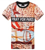 NEW!2014 Men Summer Fashion 3D Retro Egyptian Pharaoh pray for paris print short sleeve round neck t shirt Free Shipping Y10048
