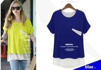 NEW 2014 fashion women girl casual cloth shirts t-shirts tops tee chiffon t shirt women two-pieces pocket plus size girl tshirt