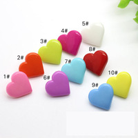 Free Shipping 400pcs/lot 17mm love heart Buttons Fit apparel&hair DIY accessories resin button Children's sweet color button