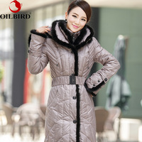 Oilbird 2014  winter coat  women's plus size down coat female long design thickening outerwear jaquetas femininas