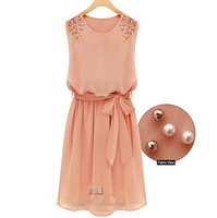 Free Shipping 2014 New Womens Chiffon Handmade Bead Shoulder Bow Belt Sleeveless Pleated Vest Dress 0ne-Piece Wholesale