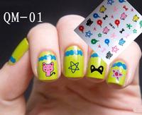 2014 New arrival 20pcs/lot cute design nail sticker/water transfer nail sticker/3d nail stickers/gold nail sticker QM01-24