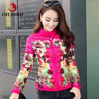 Brand Oilbird EMS or DHL Free  2014 slim print design short down jacket female outerwear down & parkas parka