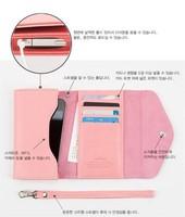 Wholesale 2014 Korean Style Apple iphone4 stylish metal crown leather mobile phone wallet bag carteira feminina free shipping