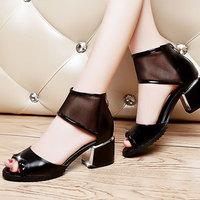 2014 New Sandals Corium Rhinestone Elegant ladies Cozy Thick Heel  Fashion shoes  women sandals DunHu582