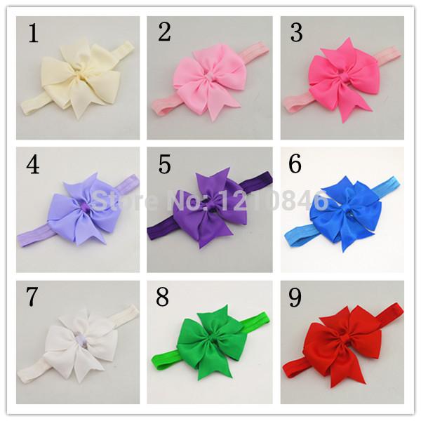 2014 new arrive fashion bow flower baby girl headband kids hair accessories hair band 12pcs/lot(China (Mainland))