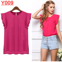 2014 new plus Size S M L XL ruffles sleeveless chiffon blouses for women 4 colors free shipping--Y009