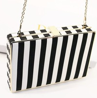2014 New Navy Style Women Clutch. Sexy Black And White Zebra Stripes Party Leather Handbag. Evening Bag Shoulder Messenger