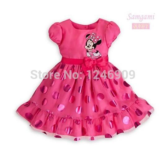 Atacado meninas Verão Vestidos desenhos animados do desenhista Minnie Mouse roupa rosa de bolinhas bonito vestido da menina 5pcs / lot 80 centímetros -120cm(China (Mainland))