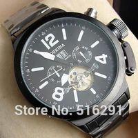 Free Shipping New 2014 Luxury Russia XXL Jumbo Style 6hands Multifunction Automatic Mechanical Men's Wrist Watch,Black Case&Band