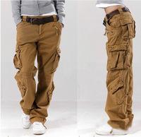 Khaki women's overalls bags of the straight trousers casual pants hip-hop pants couple pants