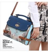 2014 vintage print handbag shoulder  color block women's cross-body handbag  desigual bag bolsas leather bags