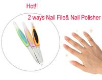 Nail Art Acrylic Purple Nail File & Nail Polisher 2 ways Tool