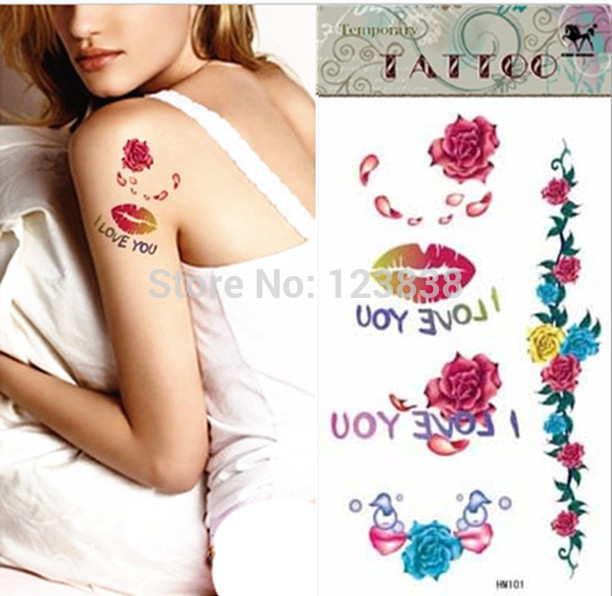 2014 fake temporary tattoo lip stickers lip tattoo waterproof tattoo sticker colorful tribal tattoos(China (Mainland))