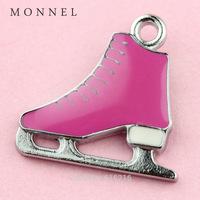 A68b Wholesale Custom alloy Metal  5 pcs Pink Skate Shoe  Charm DIY Charm   for necklace