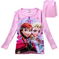 Free Shipping Frozen Elsa Cartoon Printed girls long sleeve T shirt children T-shirt top kids bottoming shirt 6pc/ lot wholesale