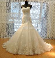 New Design Q831 Fashion Sweet Lace Appliques Beads Satin Wedding Dress Party dress VESTIDO DE NOIVA