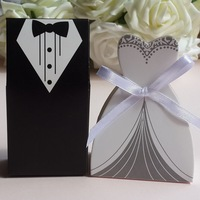 50pcs Candy Boxes   Tuxedo Dress Groom Bridal Wedding Party Favor Gift Ribbon