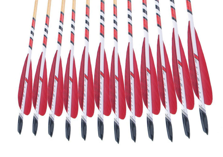 12pcs Red Feathers Hunting Archery Arrows Traditional Wooden Arrows Shooting Equipment 78cm Hunting Arrow 20 70lbs