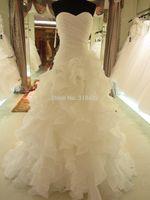 Free shipping 2014 SL-08 Hot sale Fashion Sweet Full Ruffle Wedding Dress Party dress Custom-made