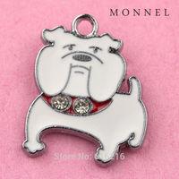 A81b  Wholesale 5 pcs White Bulldog Crystal Custom alloy Metal  DIY Charm For earring jewelry making