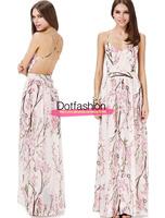 Sheinside Vestidos 2015 Summer Fashion Women Dresses Sexy Elegant Party Apricot Spaghetti Strap Backless Floral Print Maxi Dress