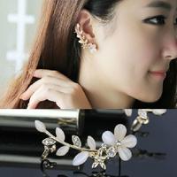 1 pcs New 2014 Fashion Wedding Jewelry Gold Plated Flower Earrings Ear Cuff Clip Earrings free shipping