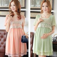 2014 Lace Maternity Dress Chiffon Maternity Clothing Maternity Short-sleeve One-piece Dress Fashion Maternity gravida  Vestido