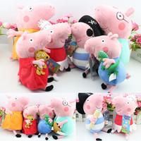 Pepa Peppa Pig Family Plush Doll Toys George Pepa Pig Ballet Pirates Daddy Mummy For Gilrs Baby Toy Brinquedos,23&30cm 6pcs/set