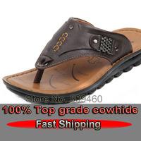 Fast Free Shipping  100% REAL Leather new 2014 men's  beach sandal  platform sandals flats summer shoes flip flops