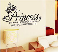 Cartoon princess crown English stickers children room bedroom sofa bed PVC five generation glass wall