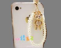 2014 Sale New Pearl Strip Cute Bear Rhinestone Dust Plugs Mobile Phone General 3.5mm Jacinths Earphones Earphone Jack Plug B100