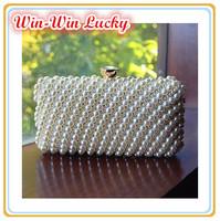 2014 New Pearl Women's Handbag. Fashion Handmade Beaded Stripes Party Hard Box Clutch. Clutches CrossBody Messenger Bag