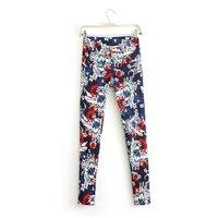 New Women Flower Prints Skinny Pencil Trousers 4007101102