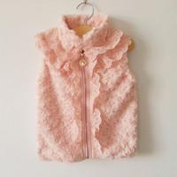 Retail !  fashion coat for  girls lace jacket fur vest children's outwear pink colors for spring/ autumn/ winter