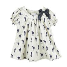 retail 2015 summer bow girls dress deer dresses cotton deer dress kids pretty children clothing(China (Mainland))